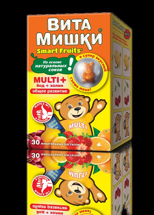ВитаМишки Multi + йод + холин, 2400 мг, пастилки жевательные, ассорти, 30шт.