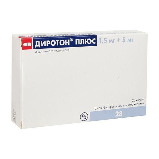 Диротон Плюс, 5 мг+1.5 мг, капсулы с модифицированным высвобождением, 28шт.
