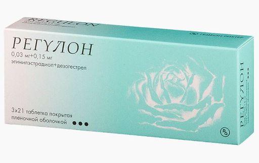 Регулон, 30 мкг+150 мкг, таблетки, покрытые пленочной оболочкой, 63шт.