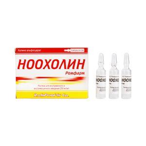 Ноохолин Ромфарм, 250 мг/мл, раствор для внутривенного и внутримышечного введения, 4 мл, 3шт.