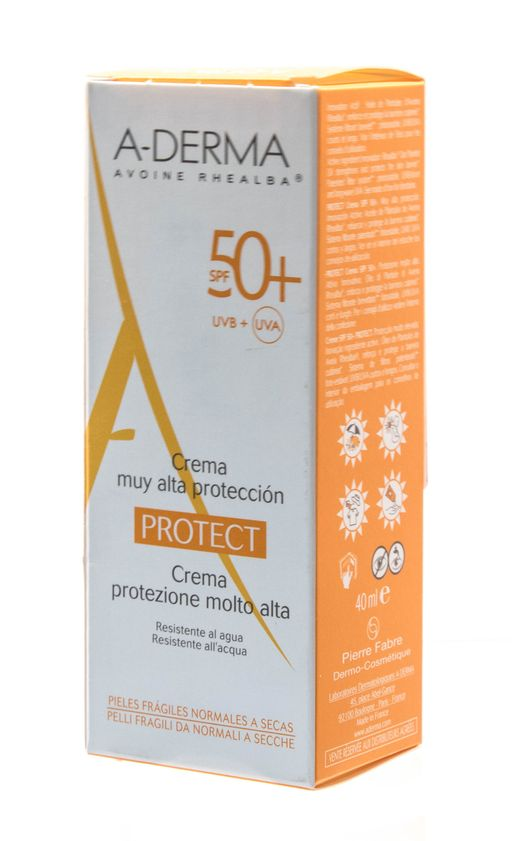 A-Derma Protect Крем солнцезащитный SPF 50+, крем для лица, 40 мл, 1шт.