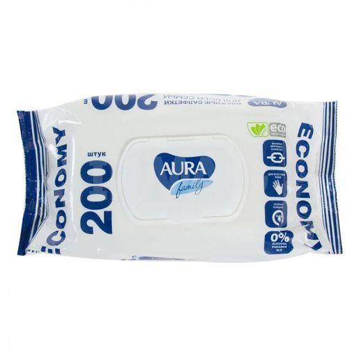 Aura Family салфетки для всей семьи влажные с крышкой, салфетки влажные, 200шт.
