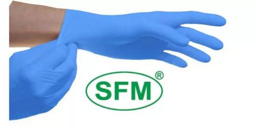Перчатки SFM смотровые нитриловые неопудренные, р. L, синего цвета, пара, 1шт.