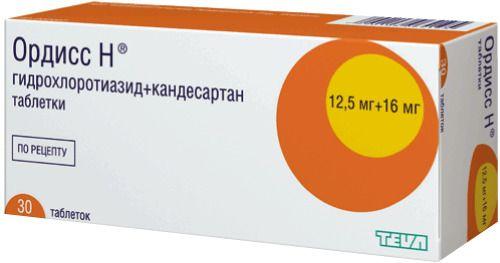 Ордисс Н, 16 мг+12.5 мг, таблетки, 30шт.