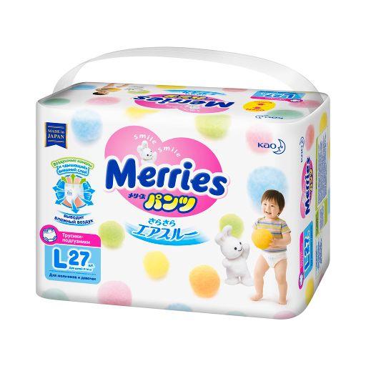 Подгузники-трусики детские Merries, 9-14 кг, L, 27шт.