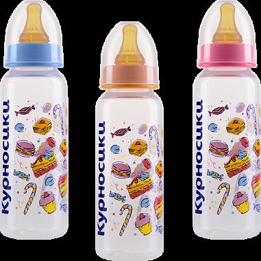 Курносики бутылочка с латексной соской 0+, 250 мл, арт. 11006, с рисунком, в ассортименте, в ассортименте, 1шт.