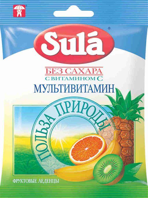 Sula карамель леденцовая без сахара, мультивитаминные, 60 г, 1шт.