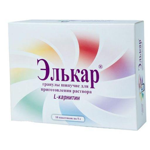 Элькар, 1000 мг, гранулы шипучие для приготовления раствора для приема внутрь, 5 г, 10шт.