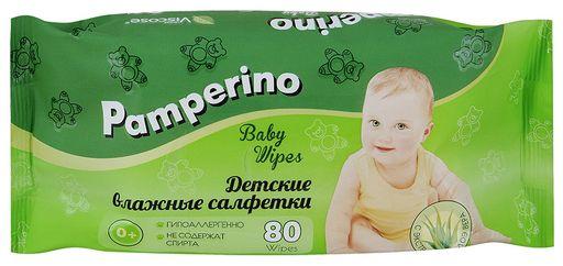 Салфетки влажные детские Pamperino с Алоэ Вера, салфетки гигиенические, 80шт.