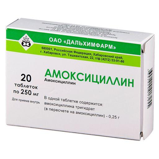 Амоксициллин, 250 мг, таблетки, 20шт.