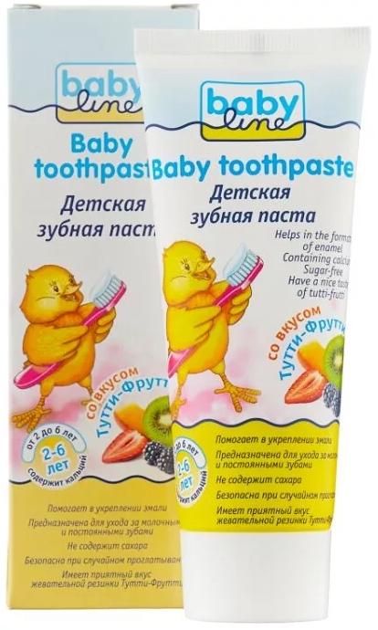 Babyline Зубная паста, для детей от 2-х до 6-ти лет, паста зубная, со вкусом жевательной резинки Тутти-Фрутти, 75 мл, 1шт.
