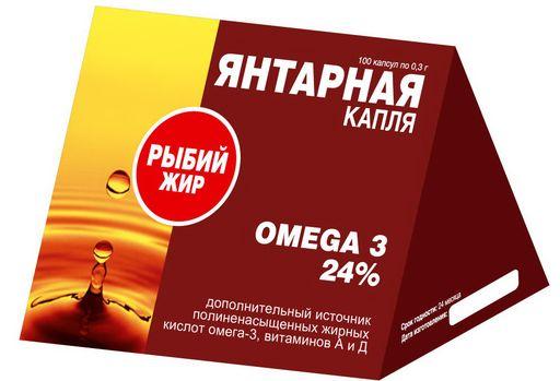 Рыбий жир Янтарная капля, 0.3 г, капсулы, 100шт.