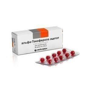 альфа-Токоферола ацетат, 100 мг, капсулы, 30шт.