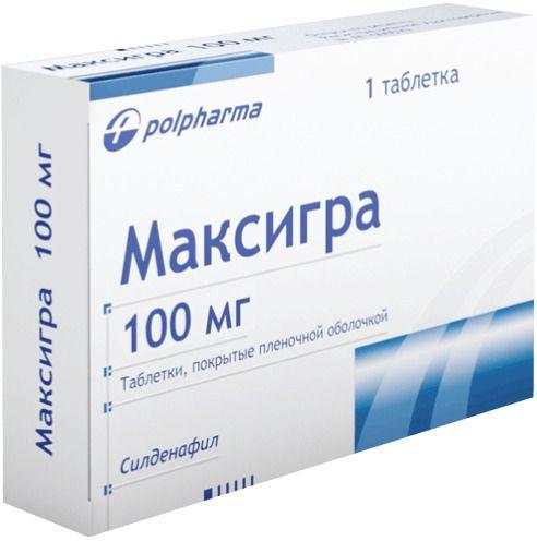 Максигра, 100 мг, таблетки, покрытые пленочной оболочкой, 1шт.
