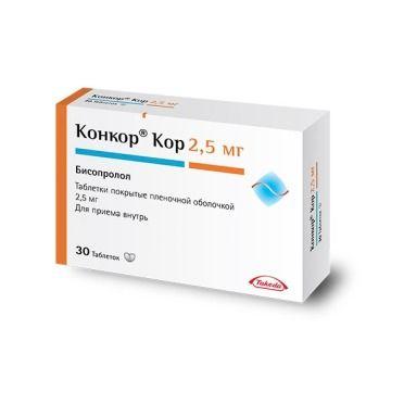 Конкор Кор, 2.5 мг, таблетки, покрытые пленочной оболочкой, 30шт.