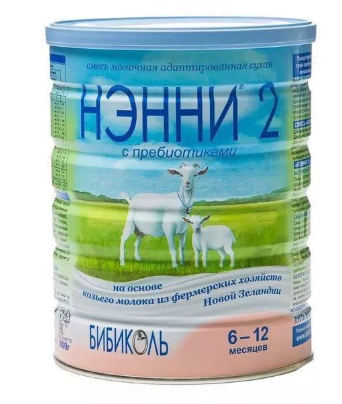 Нэнни 2 с пребиотиками, для детей с 6 месяцев, смесь молочная сухая, на основе козьего молока, 800 г, 1шт.