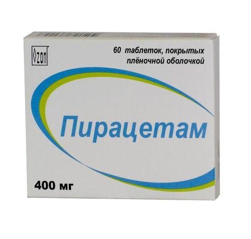 Пирацетам, 400 мг, таблетки, покрытые пленочной оболочкой, 60шт.