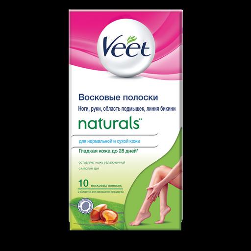 Veet Naturals полоски восковые с маслом ши, полоски восковые, 10шт.