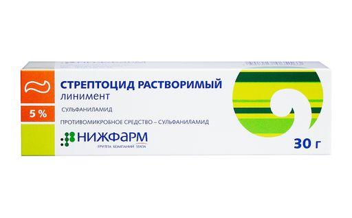 Стрептоцид растворимый, 5%, линимент, 30 г, 1шт.