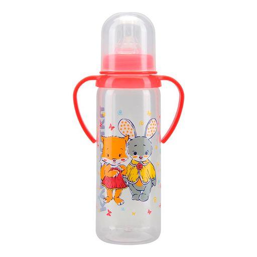 Курносики бутылочка с ручками и силиконовой соской 6 мес+, 250 мл, арт. 11005, с рисунком, в ассортименте, с силиконовой соской, 1шт.