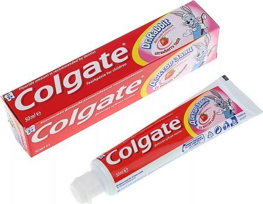 Colgate Доктор Заяц детская зубная паста, паста зубная, со  вкусом или ароматом клубники, 50 мл, 1шт.