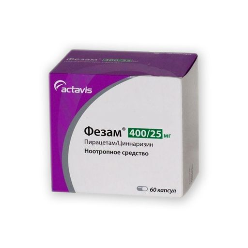 Фезам, 400 мг+25 мг, капсулы, 60шт.