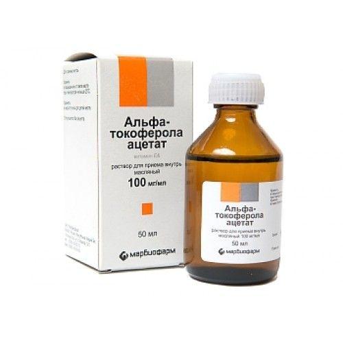 альфа-Токоферола ацетат, 100 мг/мл, раствор для приема внутрь в масле, 50 мл, 1шт.
