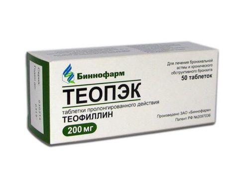 Теопэк, 200 мг, таблетки пролонгированного действия, 50шт.