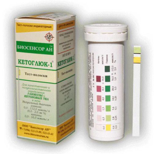 Кетоглюк-1 полоски для определения глюкозы и кетоновых тел в моче, тест-полоска, 50шт.