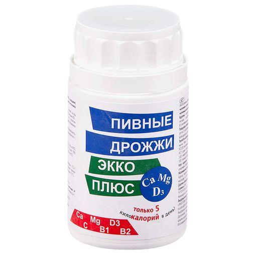 Пивные дрожжи Экко Плюс с кальцием, магнием и витамином D3, 0.45 г, таблетки, 100шт.