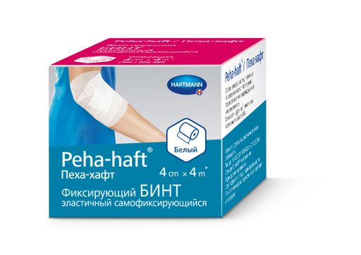 Peha-haft Бинт самофиксирующийся, 4смх4м, белого цвета, 1шт.