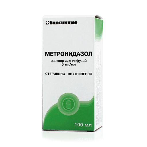 Метронидазол, 5 мг/мл, раствор для инфузий, 100 мл, 1шт.