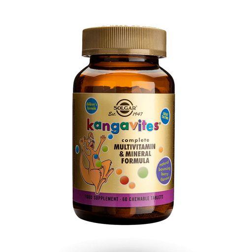 Solgar Кангавитес c мультивитаминами и минералами, таблетки для детей, со вкусом тропических фруктов, 60шт.
