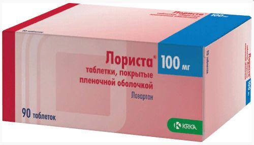 Лориста, 100 мг, таблетки, покрытые пленочной оболочкой, 90шт.