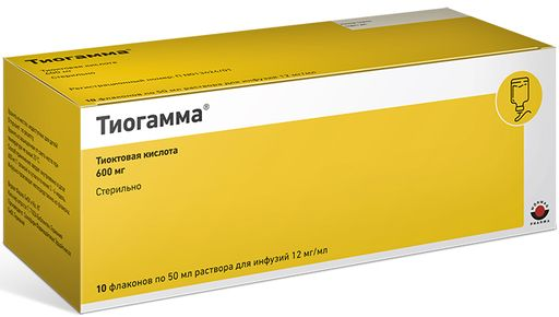 Тиогамма, 12 мг/мл, раствор для инфузий, 50 мл, 10шт.