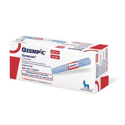 Оземпик, 1,34 мг/мл, раствор для подкожного введения, в комплекте с иглами НовоФайн плюс 6шт, 1,5 мл, 1шт.