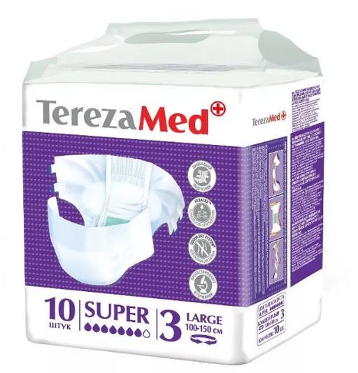 TerezaMed Super подгузники для взрослых ночные, Large L (3), 100-150 см, 10шт.