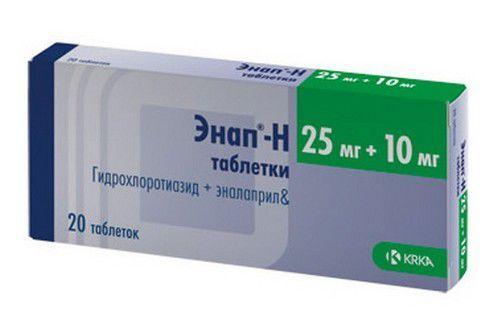 Энап-Н, 10 мг+25 мг, таблетки, 20шт.