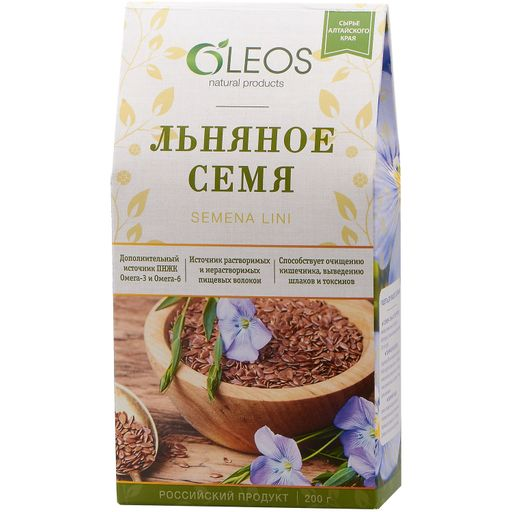 Oleos Льняное семя, семена, 200 г, 1шт.