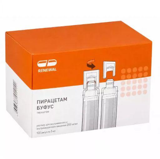 Пирацетам буфус, 200 мг/мл, раствор для внутривенного и внутримышечного введения, 5 мл, 100шт.