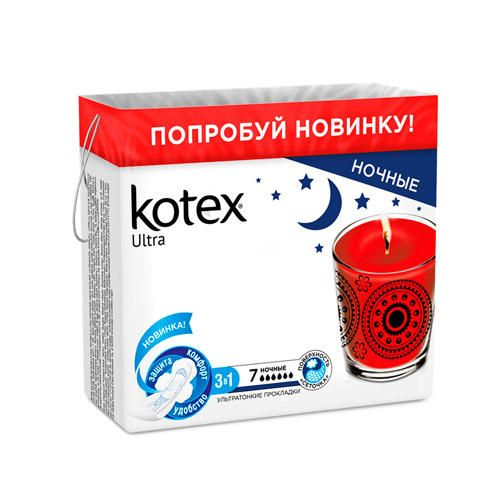 Kotex ultra night прокладки ночные поверхность сеточка, прокладки гигиенические, 7шт.