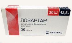 Лозартан, 12.5 мг, таблетки, покрытые пленочной оболочкой, 30шт.