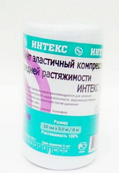 Интекс-Лайт Бинт эластичный компрессионный, 10 см х 3 м, средней растяжимости, 1шт.