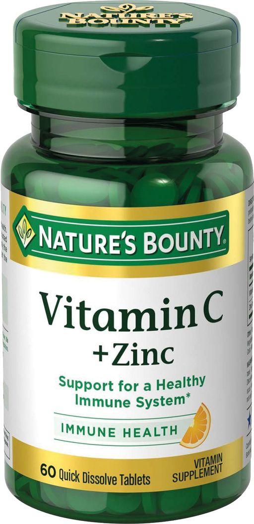 Natures Bounty Витамин С плюс цинк, таблетки, 60шт.