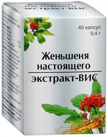 Женьшеня настоящего экстракт-ВИС, 0.4 г, капсулы, 40шт.