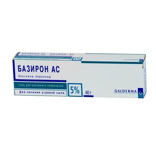 Базирон АС, 5%, гель для наружного применения, 40 г, 1шт.