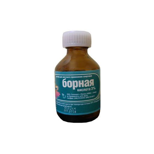 Борная кислота, 3%, раствор для местного применения (спиртовой), 25 мл, 1шт.