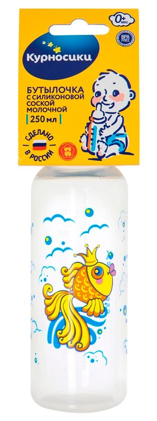 Курносики бутылочка с силиконовой соской 0 мес+, 250 мл, арт. 11141, с рисунком, в ассортименте, с силиконовой соской, 1шт.