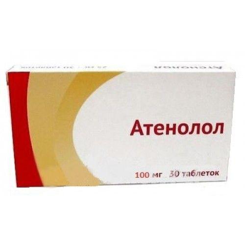 Атенолол, 100 мг, таблетки, покрытые пленочной оболочкой, 30шт.