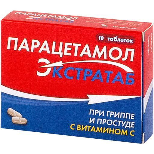 Парацетамол Экстратаб, 500 мг+150 мг, таблетки, 10шт.